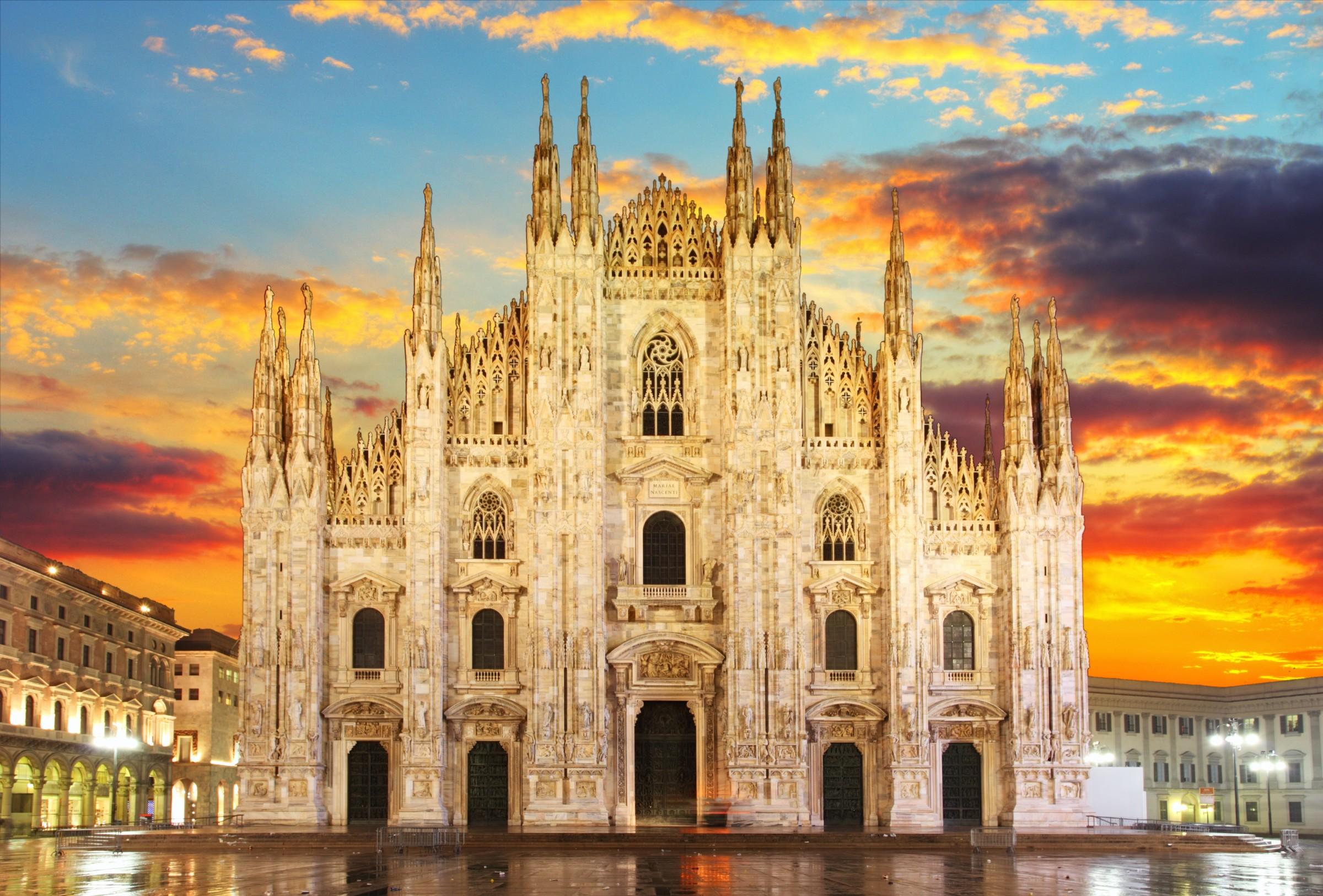 Milan - Duomo at dramatic sunset in Italy